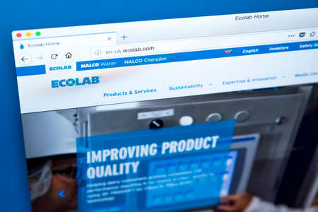 LONDON, UK - JANUARY 25TH 2018: The homepage of the website for Ecolab - the American global provider of water, hygiene and energy technology and services to food, health and hospitality markets, on 25th January 2018.