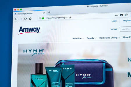 LONDON, UK - JANUARY 25TH 2018: The homepage of the official website for Amway - the American company specialising in the use of multi-level marketing to sell health, beauty and home care products, on 25th January 2018.