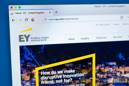 LONDON, UK - JANUARY 25TH 2018: The homepage of the official website for Ernst & Young - the multinational professional services firm and one of the largest accounting firms, on 25th January 2018.