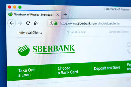 LONDON, UK - JANUARY 25TH 2018: The homepage of the official website for Sberbank - the state-owned Russian banking and financial services company, on 25th January 2018.