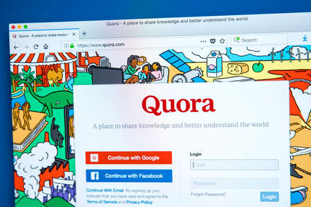 LONDON, UK - JANUARY 15TH 2018: The homepage of the official website for Quora - a question and answer website, on 15th January 2018. Editorial