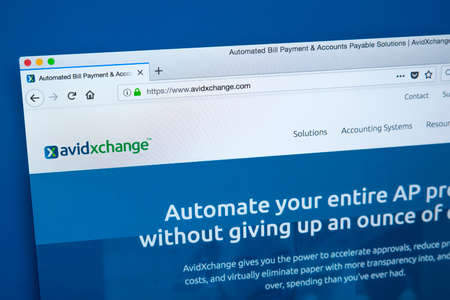 LONDON, UK - JANUARY 15TH 2018: The homepage of the official website for AvidXchange - the American company that provides automated AP solutions and accounting software, on 15th January 2018. Editoriali