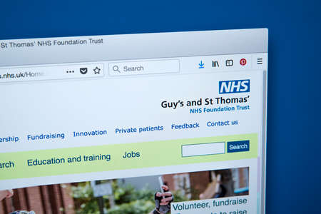 LONDON, UK - JANUARY 15TH 2018: The homepage of the official website for the Guys and St Thomas NHS Foundation Trust, on 15th January 2018.