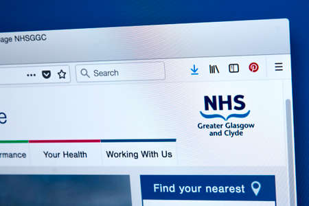 LONDON, UK - JANUARY 15TH 2018: The homepage of the official website for the NHS Greater Glasgow and Clyde, on 15th January 2018.
