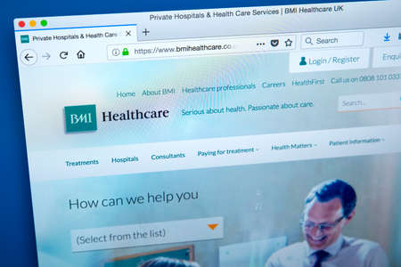 LONDON, UK - JANUARY 15TH 2018: The homepage of the official website for BMI Healthcare, on 15th January 2018. It is an independent provider of private healthcare, giving treatment to private patients and NHS patients.