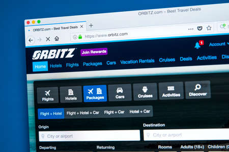 LONDON, UK - JANUARY 10TH 2018: The homepage of the official website for Orbitz - the travel and holidays bookings search engine, on 10th January 2018.  It is owned by Orbitz Worldwide Inc, a subsidiary of Expedia.