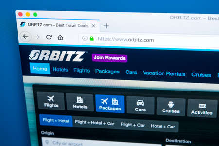 LONDON, UK - JANUARY 10TH 2018: The homepage of the official website for Orbitz - the travel and holidays bookings search engine, on 10th January 2018.  It is owned by Orbitz Worldwide Inc, a subsidia