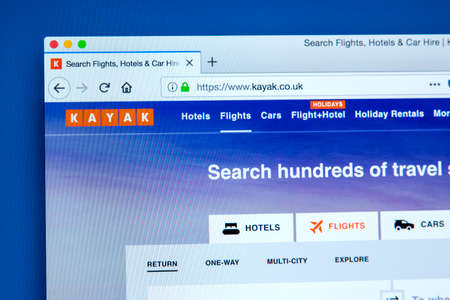 LONDON, UK - JANUARY 10TH 2018: The homepage of the official website for Kayak - the travel and holidays bookings search engine, on 10th January 2018.  It is operated by The Priceline Group.