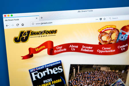 LONDON, UK - JANUARY 10TH 2018: The homepage of the official website for the J&J Snack Foods Corporation - the American manufacturer, marketer and distributor of branded snack foods and beverages, on 10th January 2018.