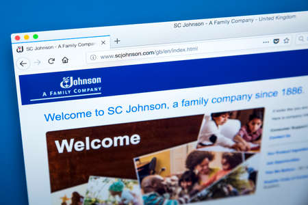 LONDON, UK - JANUARY 10TH 2018: The homepage of the official website for S. C. Johnson & Son - the American manufacturer of household cleaning supplies and other consumer chemicals, on 10th January 2018. Editorial