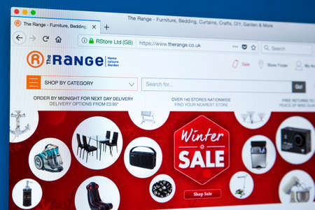 LONDON, UK - JANUARY 8TH 2018: The homepage of the official website for The Range - the retailer selling home, garden, leisure products in the UK and Ireland, on 8th January 2018.