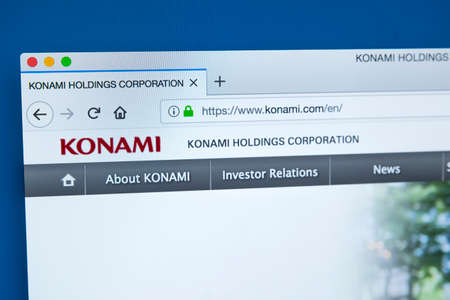 LONDON, UK - JANUARY 8TH 2018: The homepage of the official website for Konami Holdings Corporation - the Japanese entertainment company, on 8th January 2018.