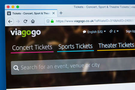 LONDON, UK - JANUARY 8TH 2018: The homepage of the official website for Viagogo - the online ticket marketplace for ticket resale, on 8th January 2018. Editorial