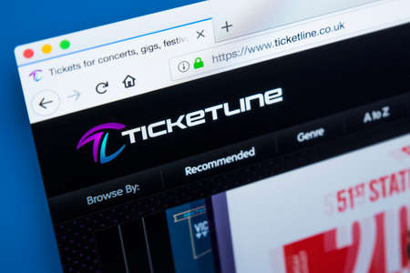 LONDON, UK - JANUARY 8TH 2018: The homepage of the official website for Ticketline - one of the largest ticket agencies in Europe, on 8th January 2018.