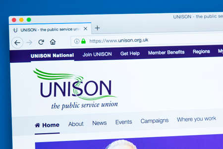 LONDON, UK - JANUARY 8TH 2018: The homepage of the official website for the UNISON trade union - members are usually from industries within the public sector, on 8th January 2018.