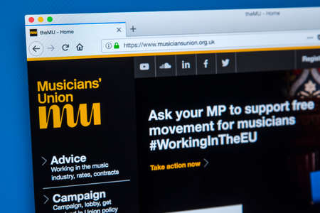 LONDON, UK - JANUARY 8TH 2018: The homepage of the official website for the Musicians Union - an organisation which represents working musicians, on 8th January 2018.