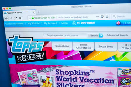LONDON, UK - JANUARY 8TH 2018: The homepage of the official website for The Topps Company - the manufacturer of chewing gum, candy and collectibles including sports trading cards, on 8th January 2018.