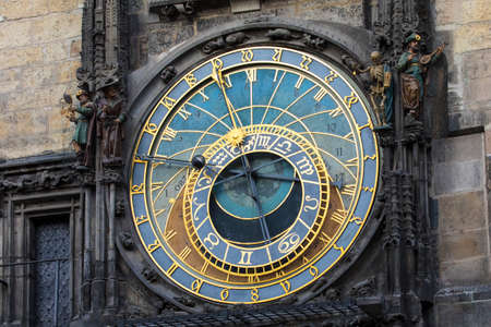 A view of the historic Prague Astronomical Clock in the city of Prague, Czech Republic.