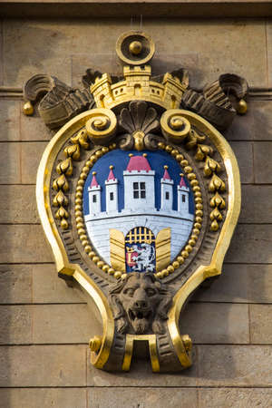 A view of one of the Coat of Arms for the city of Prague in Czech Republic. Stock Photo