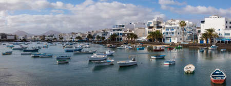 LANZAROTE, SPAIN - JANUARY 19TH 2018: A panoramic view of the beautiful Charco de San Gines in Arrecife - the capital of the volcanic island of Lanzarote in Spain, on 19th January 2018.