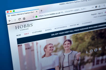 LONDON, UK - FEBRUARY 8TH 2018: The homepage of the official website for Hobbs - the womens clothing, footwear and accessories retailer, on 8th February 2018. Editorial