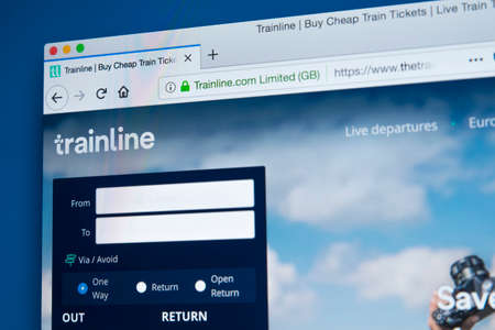 LONDON, UK - FEBRUARY 10TH 2018: The homepage of the official website for the Trainline - the online rail ticketing platform, on 10th February 2018. 報道画像