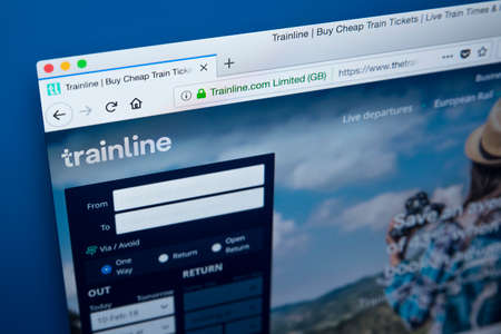 LONDON, UK - FEBRUARY 10TH 2018: The homepage of the official website for the Trainline - the online rail ticketing platform, on 10th February 2018. Editorial
