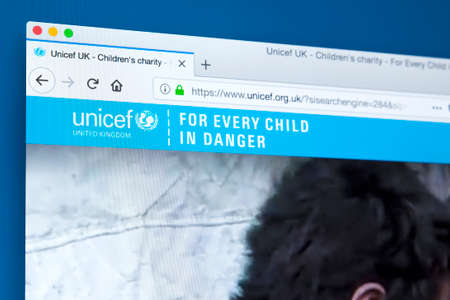 LONDON, UK - FEBRUARY 24TH 2018: The homepage of the official website for UNICEF - the United Nations Childrens Fund, on 24th February 2018.