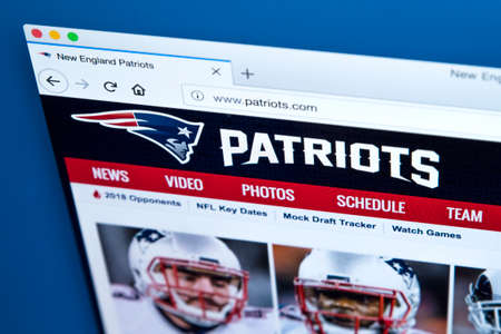 LONDON, UK - FEBRUARY 24TH 2018: The homepage of the official website for the New England Patriots - the American football team, on 24th February 2018. Editorial