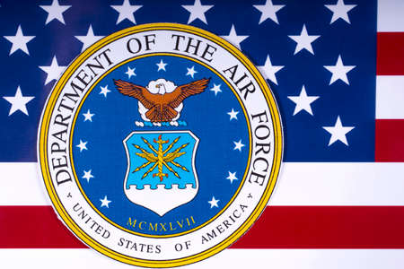 LONDON, UK - MARCH 26TH 2018: The symbol of the United States Department of the Air Force portrayed with the US flag, on 26th March 2018.