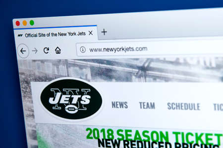 LONDON, UK - MARCH 7TH 2018: The homepage of the official website for the New York Jets - the professional American football team, on 7th March 2018. 報道画像