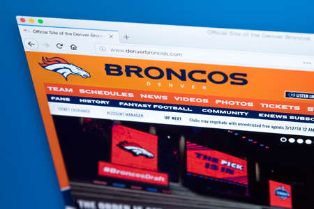LONDON, UK - MARCH 7TH 2018: The homepage of the official website for the Denver Broncos - the professional American football team, on 7th March 2018.