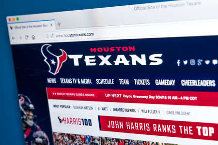 LONDON, UK - MARCH 7TH 2018: The homepage of the official website for the Houston Texans - the professional American football team, on 7th March 2018. 報道画像