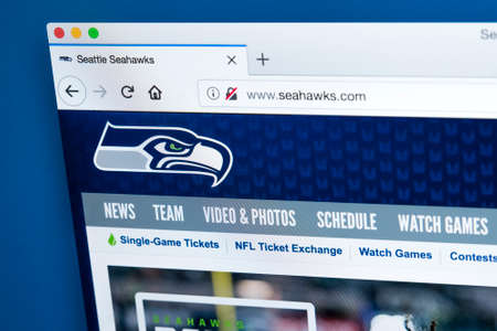 LONDON, UK - MARCH 7TH 2018: The homepage of the official website for the Seattle Seahawks - the professional American football team, on 7th March 2018.