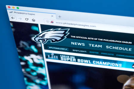 LONDON, UK - MARCH 7TH 2018: The homepage of the official website for the Philadelphia Eagles - the professional American football team, on 7th March 2018.