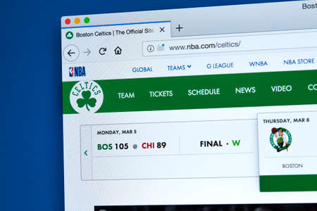 LONDON, UK - MARCH 7TH 2018: The homepage of the official website for the Boston Celtics - the American professional basketball team, on 7th March 2018.
