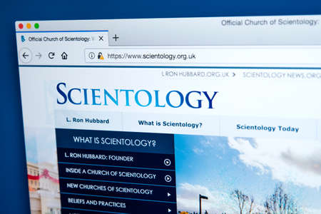 LONDON, UK - MARCH 7TH 2018: The homepage of the official website for the Church of Scientology, on 7th March 2018.