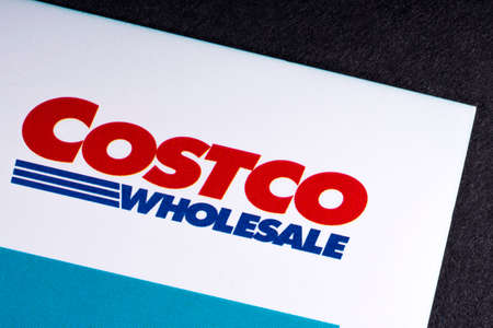 LONDON, UK - MARCH 27TH 2018: A close-up of the Costco Wholesale Corporation icon, pictured on an information booklet, on 27th March 2018. Editorial
