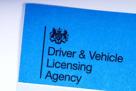 LONDON, UK - MARCH 27TH 2018: A close-up of the DVLA icon on an application form, on 27th March 2018.  The DVLA is the organisation of the UK government responsible for maintaining a database of drivers and vehicles in the UK.