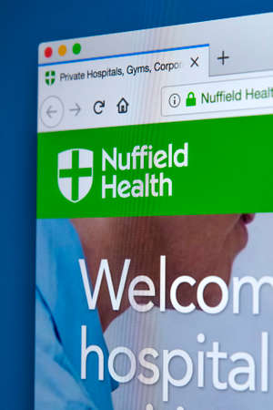 LONDON, UK - MARCH 5TH 2018: The homepage of the official website for Nuffield Health, on 5th March 2018.  It is the largest not-for-profit healthcare provider in the UK.