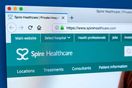 LONDON, UK - MARCH 5TH 2018: The homepage of the official website for Spire Healthcare - the second largest private healthcare provider in the UK, on 5th March 2018.