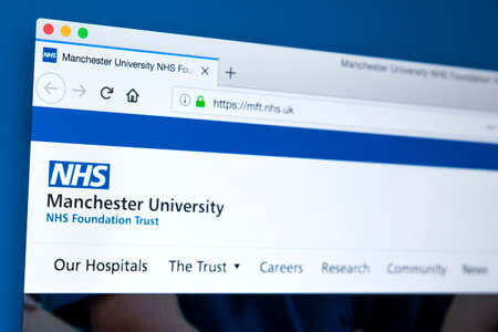 LONDON, UK - MARCH 5TH 2018: The homepage of the official website for the Manchester University NHS Foundation Trust, on 5th March 2018.