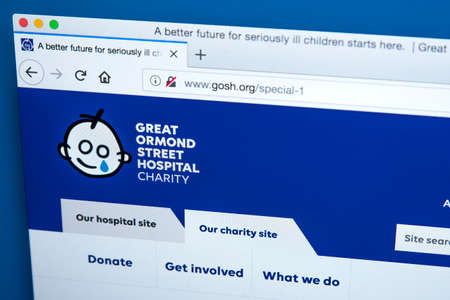 LONDON, UK - MARCH 5TH 2018: The homepage of the official website for Great Ormond Street Hospital - the largest centre for child heart surgery in the UK, on 5th March 2018.