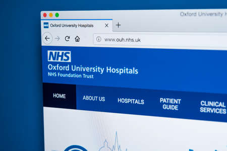 LONDON, UK - MARCH 5TH 2018: The homepage of the official website for the Oxford University Hospitals NHS Foundation Trust in the UK, on 5th March 2018.