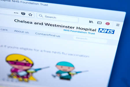 LONDON, UK - MARCH 5TH 2018: The homepage of the official website for Chelsea and Westminster Hospital NHS Foundation Trust in the UK, on 5th March 2018. Redactioneel