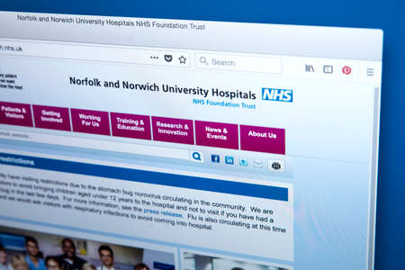 LONDON, UK - MARCH 5TH 2018: The homepage of the official website for the Norfolk and Norwich University Hospitals NHS Foundation Trust in the UK, on 5th March 2018.