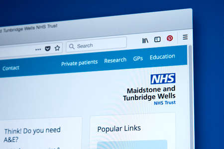 LONDON, UK - MARCH 5TH 2018: The homepage of the official website for the Maidstone and Tunbridge Wells NHS Trust in the UK, on 5th March 2018. Redactioneel