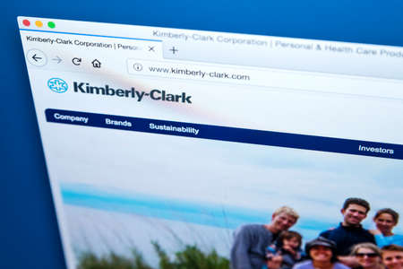 LONDON, UK - MARCH 5TH 2018: The homepage of the official website for the Kimberly-Clark Corporation, on 5th March 2018.  The American multinational personal care corporation producing paper-based products. Editorial