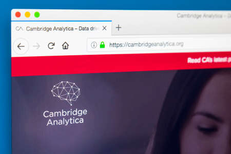 LONDON, UK - MARCH 29TH 2018: The homepage of the official website for Cambridge Analytica - the British political consulting firm, on 29th March 2018.