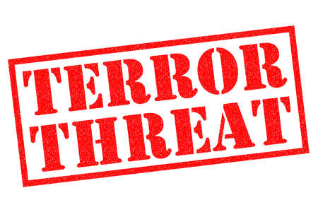 TERROR THREAT red Rubber Stamp over a white background. Reklamní fotografie - 102877048
